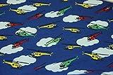 Megan Blue Jersey mit Helikopter und Wolken (50 x 150 cm,