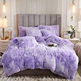 Uhamho Tie Dye Printed Faux Fur Bedding Set Modern Abstract Shaggy Plush Duvet Cover with Pillow Shams, Ultra Soft Warm and Durable (Twin, Lilac)