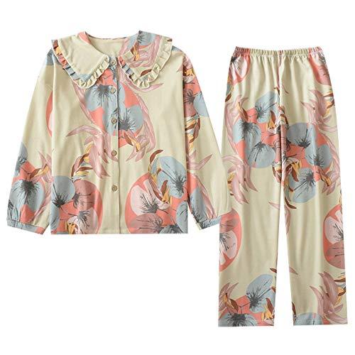 FLORVEY Primavera y otoño Nuevas señoras Pijama de Punto de algodón Puro Traje Simple Flor Grande Collar de muñeca Servicio a Domicilio Mujeres Manga Larga