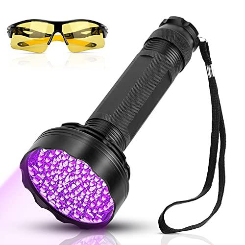 YOUTHINK Linterna UV, 100 LED UV Linterna con Gafas de Protección UV, 395 NM, 100 Linterna LED Mejorada, Lámpara Ultravioleta de luz Negra, Detector de Orina para Perros y Gatos, para Alfombra/Piso