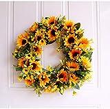 U'Artlines 40cm Natürliche Girlanden Haustür Kränze, Künstliche Sonnenblume Hängen Kranz für Home Party Indoor Outdoor Fenster Wand Hochzeit Dekoration(40 cm Sonnenblume) - 5