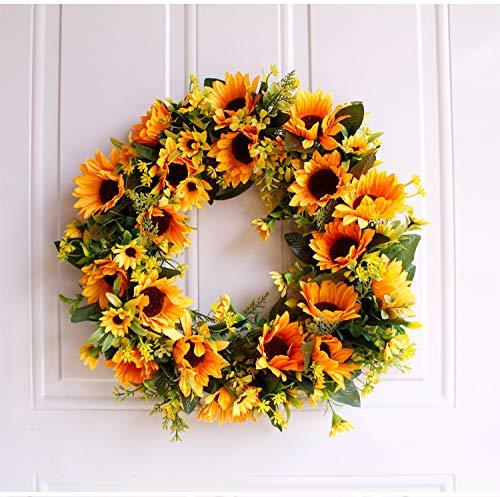 U'Artlines 40cm Natürliche Girlanden Haustür Kränze, Künstliche Sonnenblume Hängen Kranz für Home Party Indoor Outdoor Fenster Wand Hochzeit Dekoration(40 cm Sonnenblume)