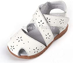 JDUNXST Girls Sandals Leather Soft Toddler Shoes White Pink Blue Closed Toe Summer Style