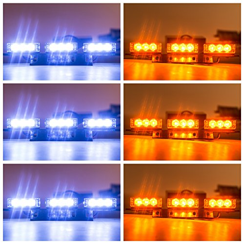 Orion Motor Tech 54 LED Amber & White Emergency Service Truck Car Vehicle Strobe Warning Light/Lightbars for Deck Dash Grill Windshield Headliner