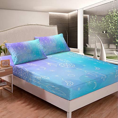 Juego de sábanas de atrapasueños, diseño bohemio, atrapasueños, para niños, niñas, ropa de cama bohemia, plumas indias, juego de cama con 2 fundas de almohada, 3 piezas, cama king