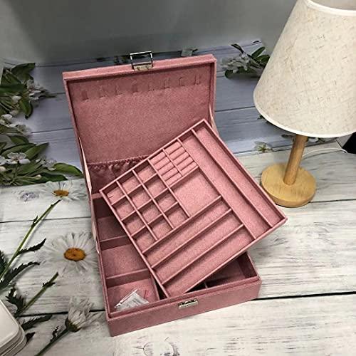 Aexle Caja de almacenamiento multifuncional de doble capa para joyas, franela, caja cuadrada grande con cerradura