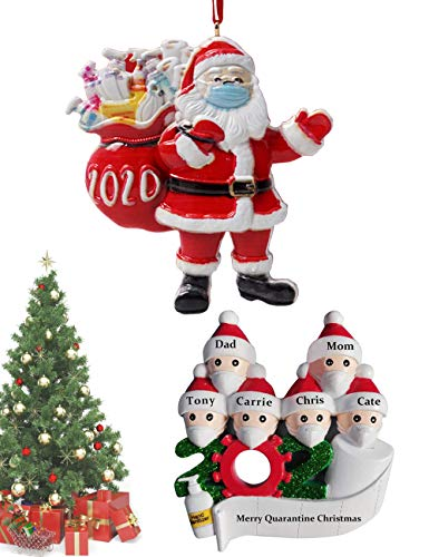 Personalized Name Christmas Ornament,Kit and 2020 Year to Remember Family Ornament Santa with Face_Mask Christmas Decorating Set Creative Gift
