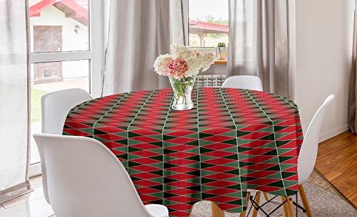 ABAKUHAUS meetkundig Rond Tafelkleed, Kerst vormen, Decoratie voor Eetkamer Keuken, 150 cm, Almond Groen Rood