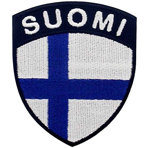EmbTao Finnland Schild Flagge Bestickter Aufnäher zum Aufbügeln/Annähen