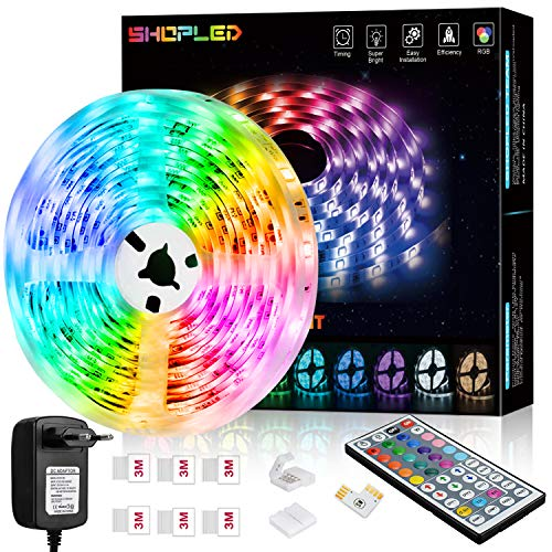 Striscia LED 6M, SHOPLED RGB SMD 5050 Kit per Cambio Colore Luci con Telecomando a 44 Tasti e Alimentatore, per Camera da Letto, Cucina, TV, Feste