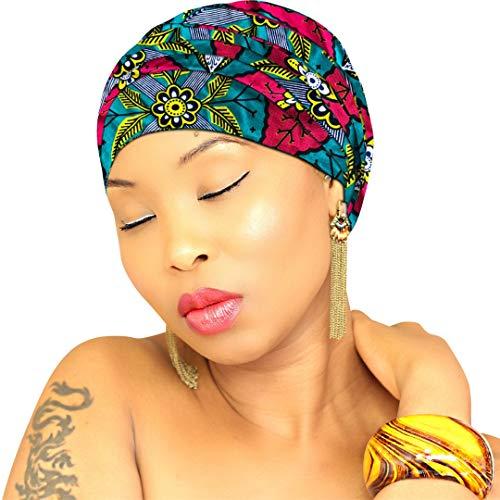 Hybrid Fashionista Afrikanische Kopfbandagen für Damen, groß, 183 x 56 cm, Kente Kopfbandagen für Frauen, Hijab - Royal Head Wraps - Blau...