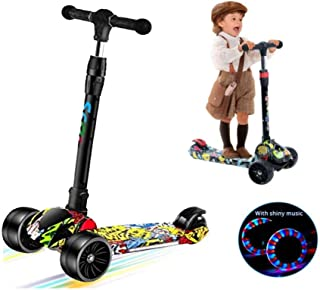 COOLBABY Kids Scooter for Kids 3 Wheel with Light-Up Wheels Scooter, Height Ajustable for Boys or Girls