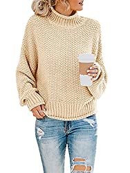 Image of Saodimallsu Womens Turtleneck Oversized Sweaters Batwing Long Sleeve Pullover Loose Chunky Knit Jumper: Bestviewsreviews