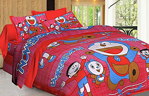 Traditional JaipurSábana de algodón Estampada Doraemon para habitación de niños, Colcha de Colcha Sanganeri Jaipuri de 84 x 90 Pulgadas con 2 Fundas de Almohada (Red)
