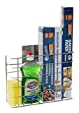 Kitchen Cupboard Storage Organiser - Perfect for Tin Foil, Cling Film and Cleaning Accessories Or as an Undersink Storage Solution - Self Adhesive So No Drilling or Fixings Needed.