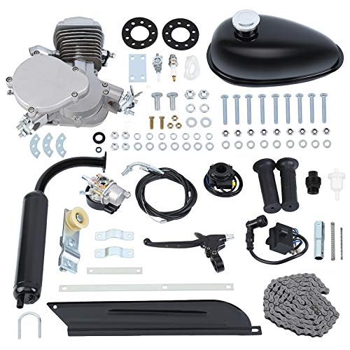 """Ambienceo 26"""" 28"""" Black 2 Stroke 50cc 80cc Cycle Bicycle Gas Motorized Gasoline Engine Motor Kit CDI Air Cooling For Mountain and Road Bike (80cc, Silver)"""
