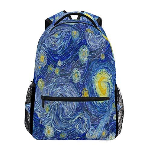 Van Gogh Sac à dos étanche pour école, gym, ordinateur portable Bleu Jaune