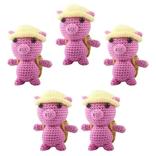 kowaku Juego de 5 Kits para Principiantes para Aprender a Tejer para Tejer Muñecas de Peluche de Cerdo 3D