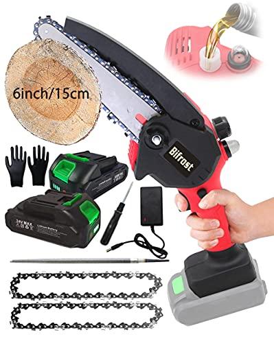 Mini Motosega a Batteria 6 Pollici 15CM Portatile Motosega Potatura Piccola Sega Elettrica per...