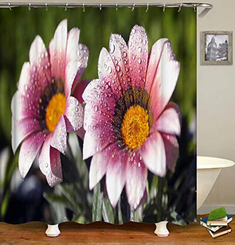 Water Drops On Flowers. Size: 180X180Cm. Includes 12 C-Shaped Hooks. It Dries Quickly And Does Not Fade. Curtain Shower Curtain Background Cloth.