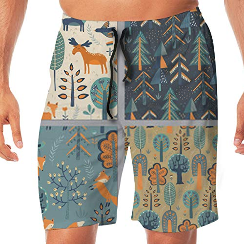 xinfub Beach Shorts Collection of Patterns with Hand Drawn Forest Animals Trees Bañador de Playa de Secado rápido para Hombres