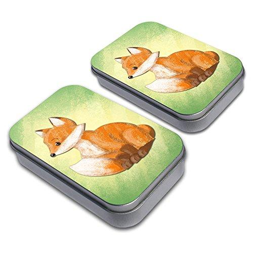 Pastel Cute Fox Decorative Craft Trinket Metal Tin Box Set of 2