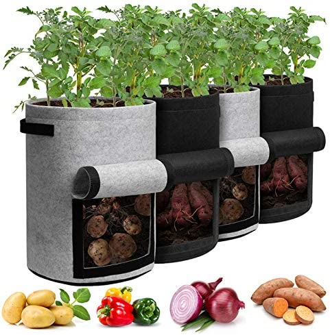 Potato Grow Bags with Flap 10 Gallon 4 Pack Planter Pot with Handles and Harvest Window for product image