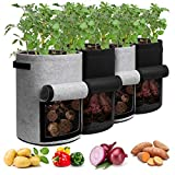 Potato Grow Bags with Flap 10 Gallon, 4 Pack Planter Pot with Handles and Harvest Window for Potato Tomato and Vegetables, Black and Gray