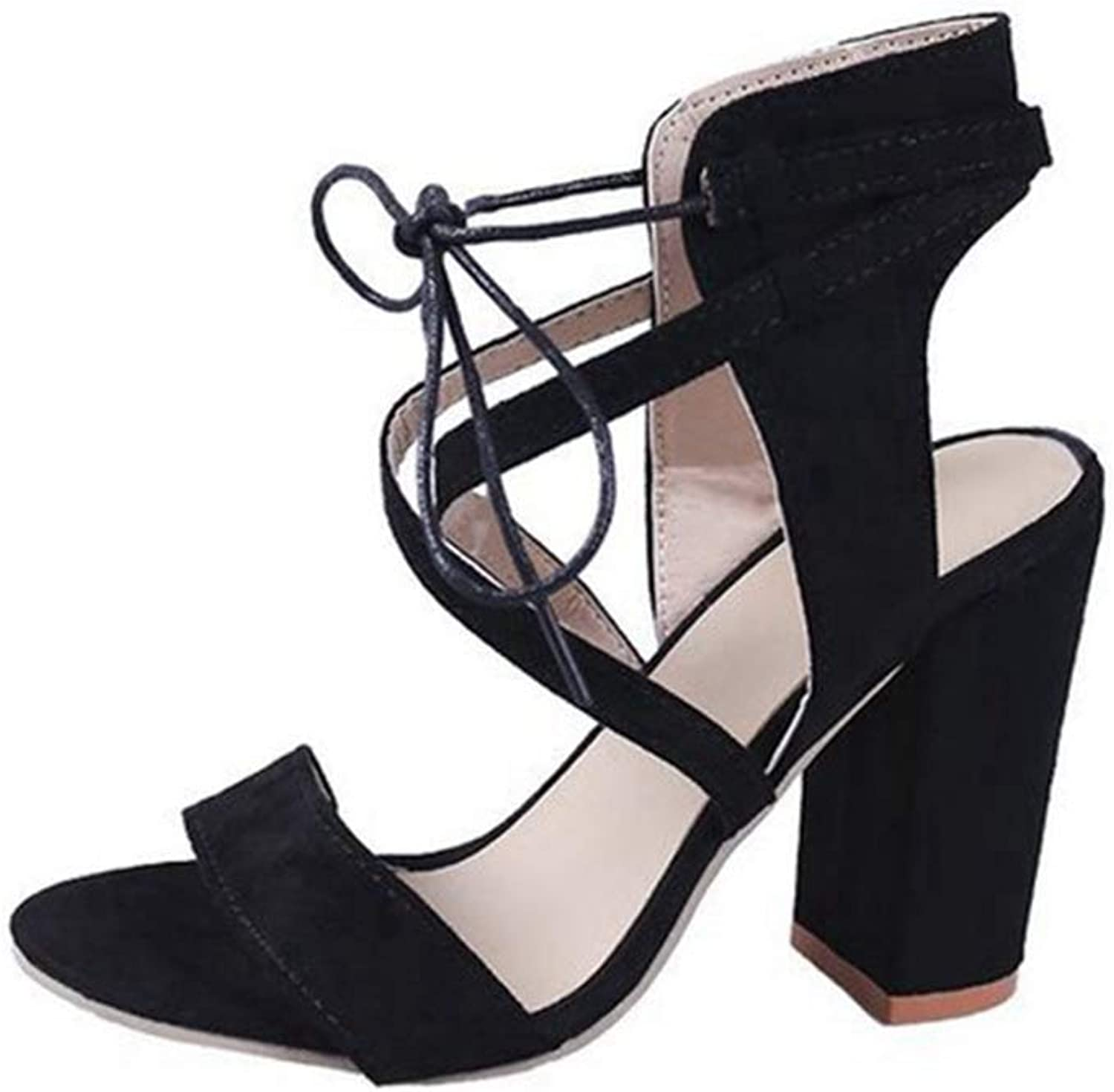 Women Pumps Female Summer Sandals Open Toe Sexy Fashion Suede Thick High Heels