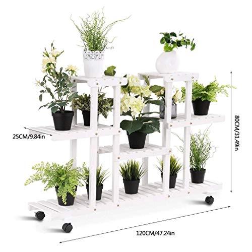 Bloemenstandaard, 4-laags rijdende bloemenstandaard, verrijdbare plantenstandaard met wielen, bloempotstandaard