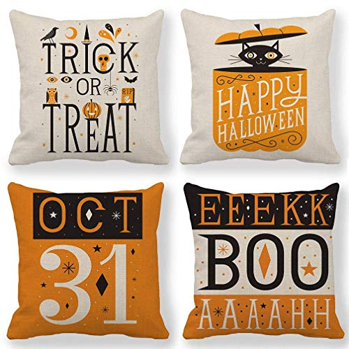 Orange Halloween Decor Trick or Treat Pillow Covers Happy Halloween Pillow Cases Decorative Cushion Covers 18 x 18 Inches,Set of 4 for Couch/Sofa/Porch/Patio
