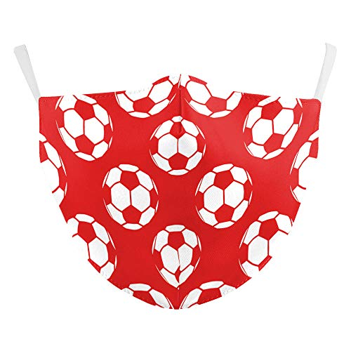 eBoutik - Reusable Face Mask Breathable Face Coverings Sports Designs - Football fan - Washable, Social Distancing Practices (Red & White Footballs)
