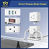 Extension Lead Tower 10 Way, Extension Plug with 2 USB-A Slots & 1 PD 30W USB-C Slot, Detachable Stackable 2M Power Strip Tower 2500W/10A, EURPMASK Extension Socket for Home Office School - White