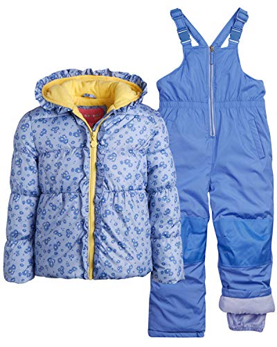 Wippette Girls Heavyweight Insulated Ski Jacket and Snow Bib Snowsuit Set, Size 12 Months, Lavender