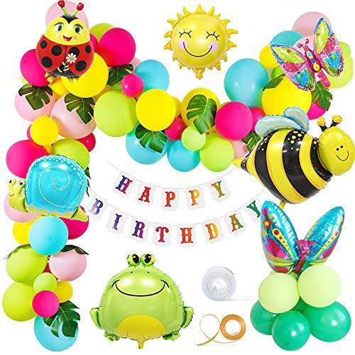 MMTX Geburtstag Party Dekoration Garten Bunt Luftballons für Garten Mädchen Jungen Geburtstagsdeko,Dschungel Insekt Schmetterling Biene Tier Frosch Schnecken Ballon Birthday Girlande Palmenblätter