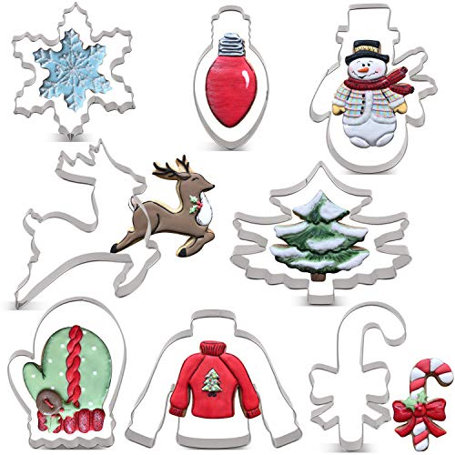 KENIAO Weihnachten Ausstechformen Set - 9 Stück - Weihnachtsbaum, Lebkuchenmann, Zuckerstange, Rentier, Glühlampe, Schneemann, Schneeflocke, Pullover und Fäustling Ausstecher -Edelstahl