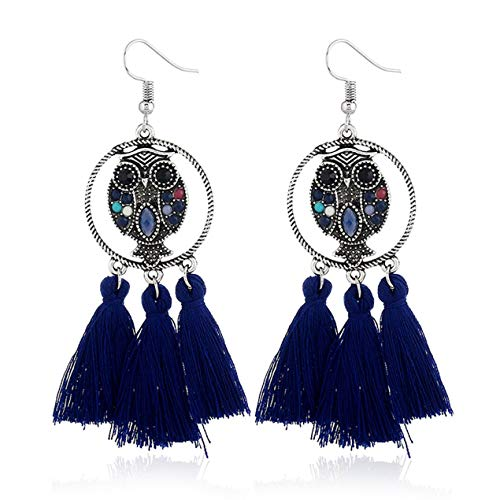 DBSUFV Fashion Vintage Metal Cute Style Owl Tassel Earrings For Women Girls Jewelry Retro Bohemian Metal Ear Jewelry(Blue)