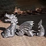 Garden Dragon Statues Outdoor Decoration, Resin Dragon Sculpture Garden Decor Art Crafts, Dragon Figure Landscaping Ornament for Home Indoor Outdoor Garden Courtyard Lawn Yard Gift (White)
