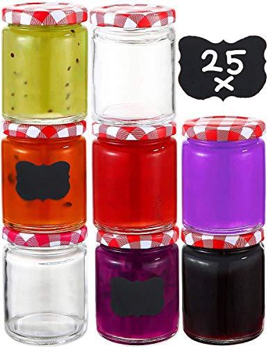 25 Botes de Cristal para Conserva de 230 ml - Hermeticos - con Tapa de Metal - Tarros para Conservas, Potitos, Mermelada