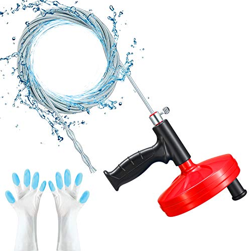 Drain AugerDuth Plumbing Snake 25 Feet Heavy Duty Professional Flexible Clog Remover for Bathtub Kitchen Bathroom and Shower Sink Comes with Gloves