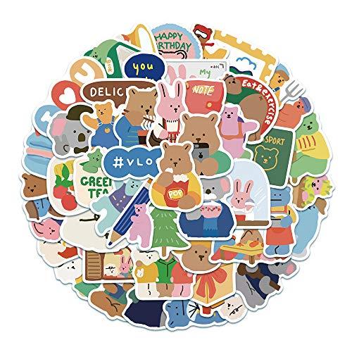 WWJIE Korean Cartoon Cute Chocolate Bear Sticker Luggage Laptop Mobile Phone Hand-Bill Sticker Waterproof