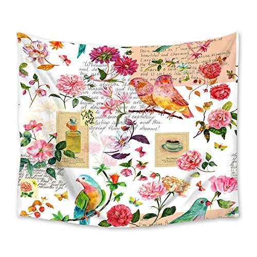 Vintage flores pájaros tapiz tapiz colgante de pared colcha arte decoración manta toalla cortina ventana esterilla de yoga 150x180cm