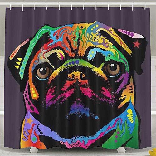 PAUSEBOLL Pug Dog Shower Curtain,Bath Curtains Bathroom Decor Sets with Hooks Shower Bath Curtain for Bathroom,Waterproof Polyester Curtain