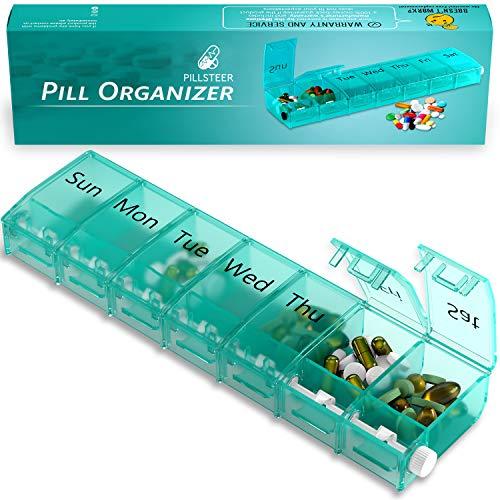 Weekly Locking Pill Organizer Container - Pill Sorter 7 Day - Medicine Medication Organizer Box - Travel Pill Dispenser Holder Case