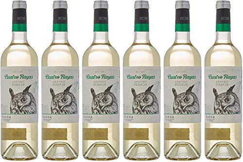 Cuatro Rayas Vino Blanco Verdejo Ecológico - 6 Botellas de 750 ml (Total: 4.5 L)