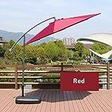 ZTMN Ombrello a sbalzo per ombrellone Ombrellone, 3 m / 8 Costole/manovella/inclinazione Pulsanti/Tessuto in Poliestere 250 g/Base iniezione Acqua