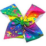 JoJo Siwa Large Cheer Hair Bow for Girls - Rainbow with Metallic Rainbow Unicorns