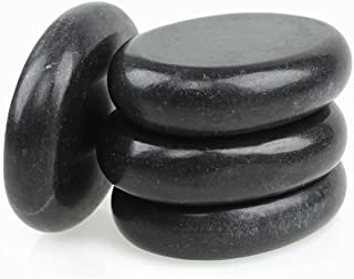 Romonacr 4Pcs Professional Massage Hot Stone Set Natural Lava Heated Stones Basalt Warmer Rock for Spa, Massage Therapy (2.36 x 3.14in)