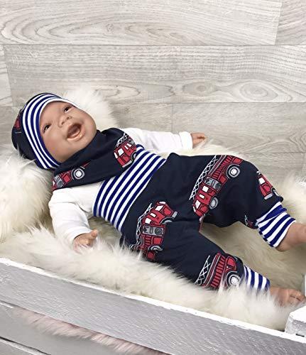 Baby Set 56 62 68 74 Hose, Mütze und Dreieckstuch, Erstausstattung, new born set, junge Pumphose blau Feuerwehr