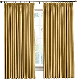 cololeaf Faux Dupioni Silk Curtain Pinch Pleat Light Reducing Window Curtain Panels for Bedroom Living Room Satin Drapes Privacy Window Treatments, Gold 84